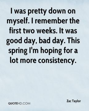 Zac Taylor  - I was pretty down on myself. I remember the first two weeks. It was good day, bad day. This spring I'm hoping for a lot more consistency.
