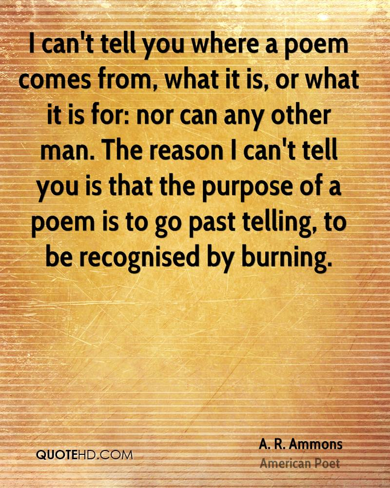 I can't tell you where a poem comes from, what it is, or what it is for: nor can any other man. The reason I can't tell you is that the purpose of a poem is to go past telling, to be recognised by burning.
