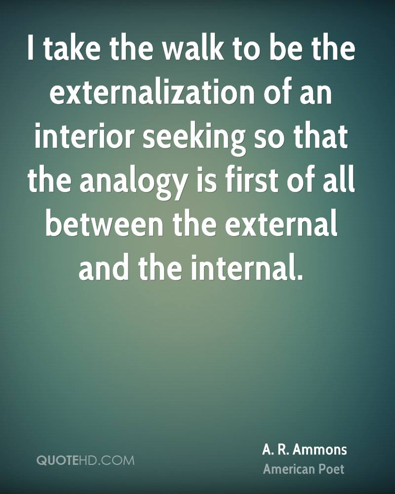 I take the walk to be the externalization of an interior seeking so that the analogy is first of all between the external and the internal.