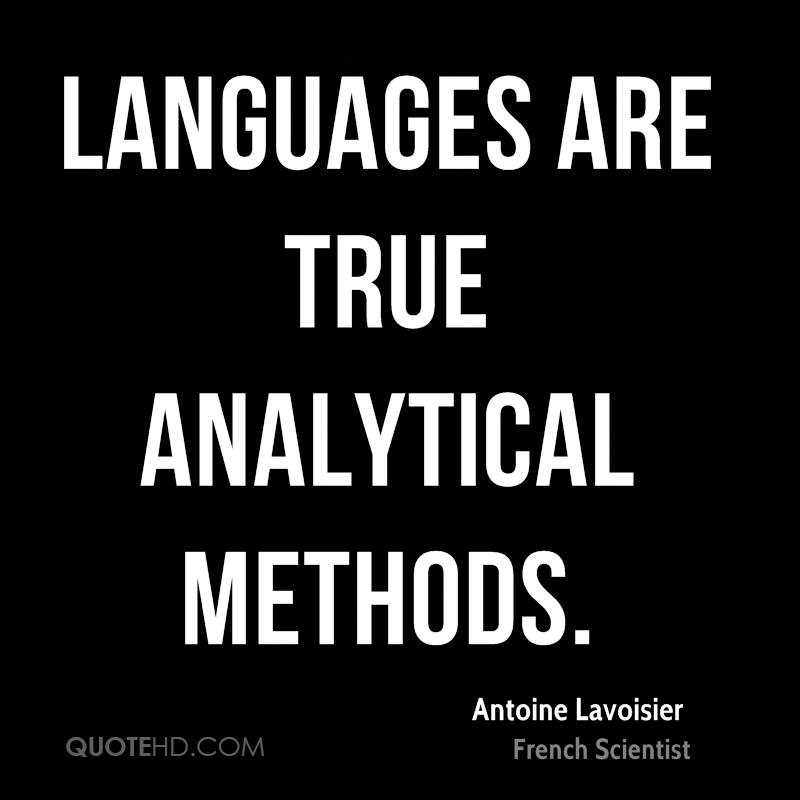 Languages are true analytical methods.