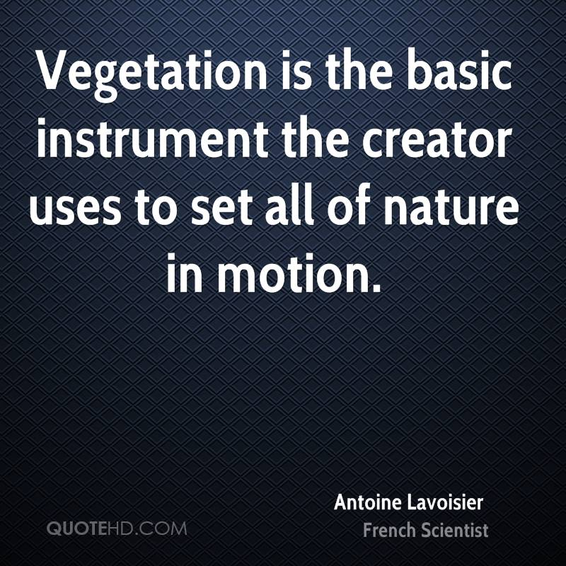 Vegetation is the basic instrument the creator uses to set all of nature in motion.