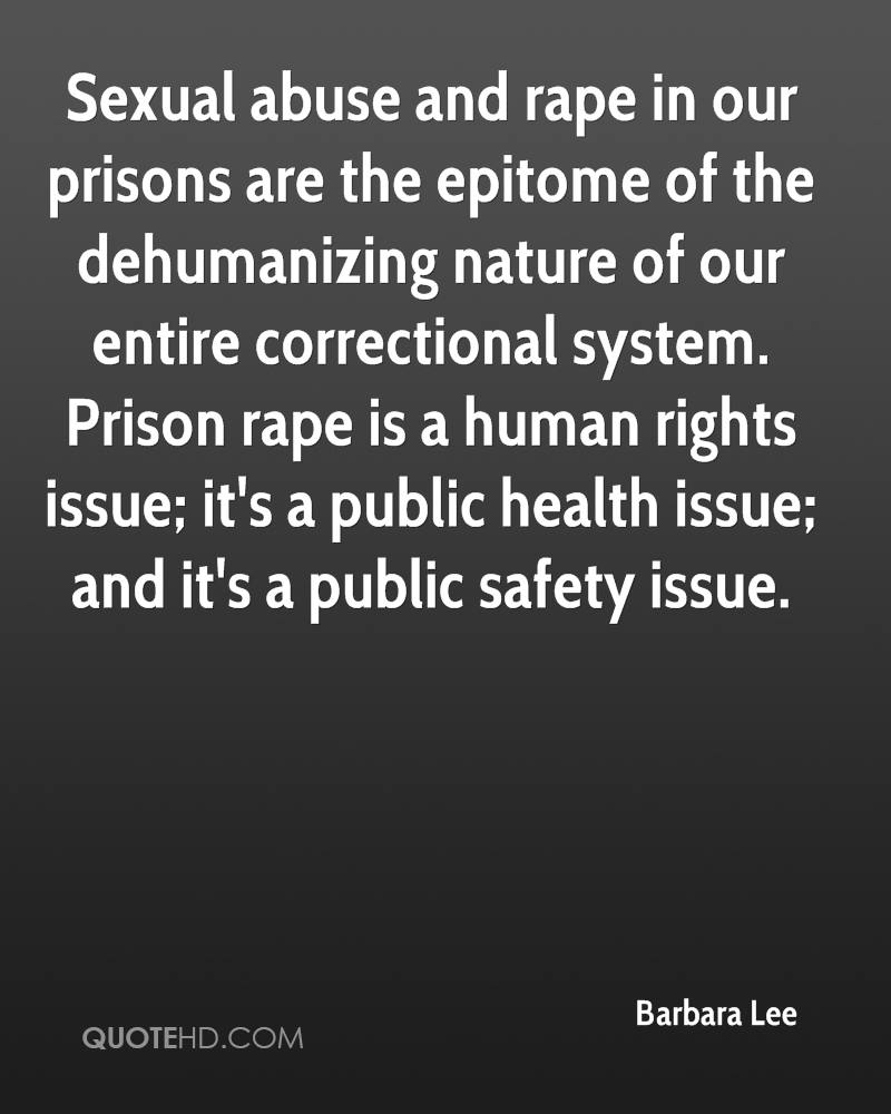 Sexual abuse and rape in our prisons are the epitome of the dehumanizing nature of our entire correctional system. Prison rape is a human rights issue; it's a public health issue; and it's a public safety issue.