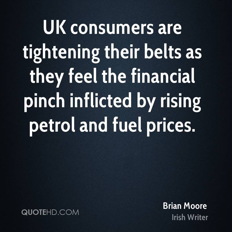 UK consumers are tightening their belts as they feel the financial pinch inflicted by rising petrol and fuel prices.