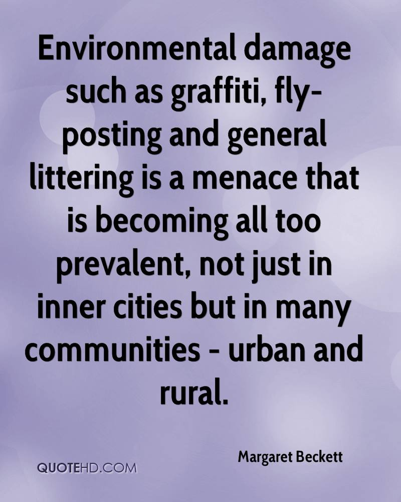 Environmental damage such as graffiti, fly-posting and general littering is a menace that is becoming all too prevalent, not just in inner cities but in many communities - urban and rural.