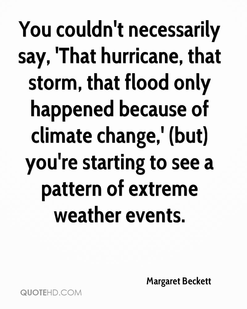 You couldn't necessarily say, 'That hurricane, that storm, that flood only happened because of climate change,' (but) you're starting to see a pattern of extreme weather events.