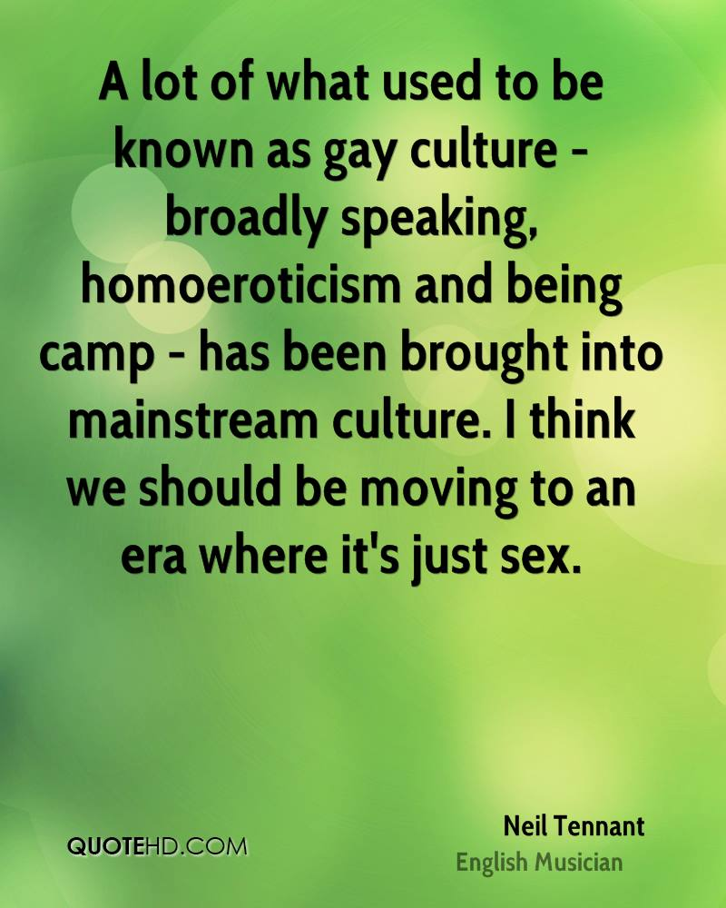 A lot of what used to be known as gay culture - broadly speaking, homoeroticism and being camp - has been brought into mainstream culture. I think we should be moving to an era where it's just sex.