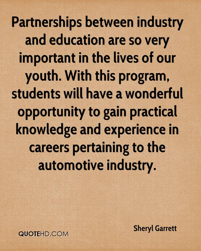 Partnerships between industry and education are so very important in the lives of our youth. With this program, students will have a wonderful opportunity to gain practical knowledge and experience in careers pertaining to the automotive industry.
