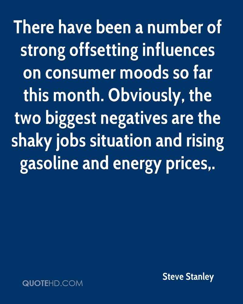 There have been a number of strong offsetting influences on consumer moods so far this month. Obviously, the two biggest negatives are the shaky jobs situation and rising gasoline and energy prices.