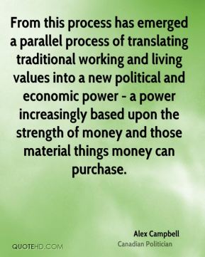 From this process has emerged a parallel process of translating traditional working and living values into a new political and economic power - a power increasingly based upon the strength of money and those material things money can purchase.
