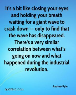 Andrew Pyle - It's a bit like closing your eyes and holding your breath waiting for a giant wave to crash down -- only to find that the wave has disappeared. There's a very similar correlation between what's going on now and what happened during the industrial revolution.