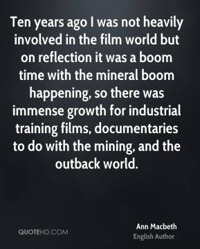 Ten years ago I was not heavily involved in the film world but on reflection it was a boom time with the mineral boom happening, so there was immense growth for industrial training films, documentaries to do with the mining, and the outback world.