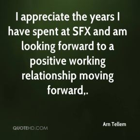 I appreciate the years I have spent at SFX and am looking forward to a positive working relationship moving forward.