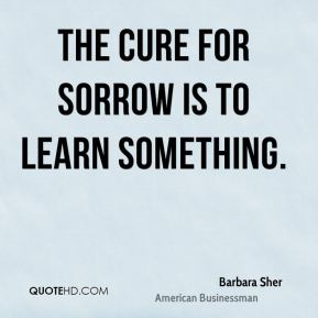 Barbara Sher - The cure for sorrow is to learn something.