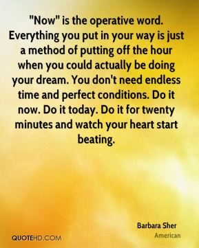 ''Now'' is the operative word. Everything you put in your way is just a method of putting off the hour when you could actually be doing your dream. You don't need endless time and perfect conditions. Do it now. Do it today. Do it for twenty minutes and watch your heart start beating.