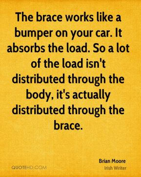 Brian Moore - The brace works like a bumper on your car. It absorbs the load. So a lot of the load isn't distributed through the body, it's actually distributed through the brace.