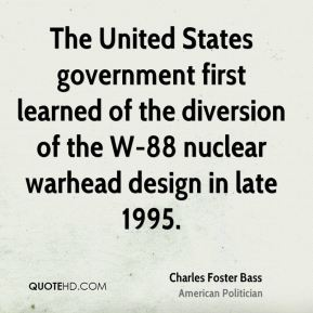 The United States government first learned of the diversion of the W-88 nuclear warhead design in late 1995.