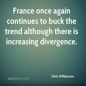 Chris Williamson - France once again continues to buck the trend although there is increasing divergence.