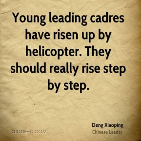 Young leading cadres have risen up by helicopter. They should really rise step by step.