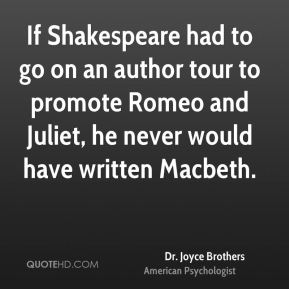 If Shakespeare had to go on an author tour to promote Romeo and Juliet, he never would have written Macbeth.