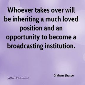 Graham Sharpe - Whoever takes over will be inheriting a much loved position and an opportunity to become a broadcasting institution.