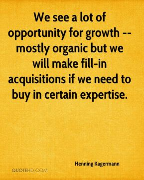 We see a lot of opportunity for growth -- mostly organic but we will make fill-in acquisitions if we need to buy in certain expertise.