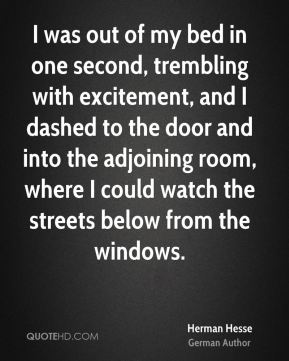Herman Hesse - I was out of my bed in one second, trembling with excitement, and I dashed to the door and into the adjoining room, where I could watch the streets below from the windows.