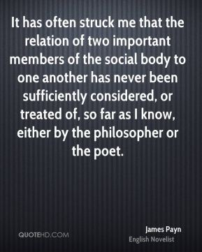 James Payn - It has often struck me that the relation of two important members of the social body to one another has never been sufficiently considered, or treated of, so far as I know, either by the philosopher or the poet.
