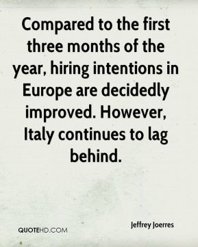 Jeffrey Joerres  - Compared to the first three months of the year, hiring intentions in Europe are decidedly improved. However, Italy continues to lag behind.