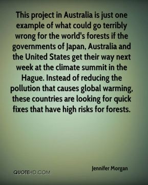 This project in Australia is just one example of what could go terribly wrong for the world's forests if the governments of Japan, Australia and the United States get their way next week at the climate summit in the Hague. Instead of reducing the pollution that causes global warming, these countries are looking for quick fixes that have high risks for forests.