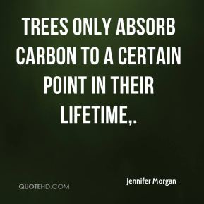 Jennifer Morgan  - Trees only absorb carbon to a certain point in their lifetime.