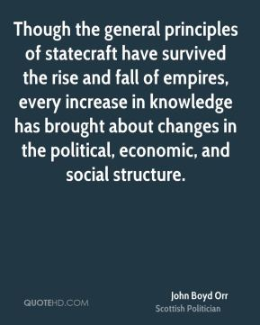 John Boyd Orr - Though the general principles of statecraft have survived the rise and fall of empires, every increase in knowledge has brought about changes in the political, economic, and social structure.