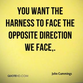 John Cummings  - You want the harness to face the opposite direction we face.
