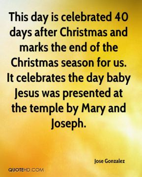 This day is celebrated 40 days after Christmas and marks the end of the Christmas season for us. It celebrates the day baby Jesus was presented at the temple by Mary and Joseph.