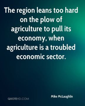 Mike McLaughlin  - The region leans too hard on the plow of agriculture to pull its economy, when agriculture is a troubled economic sector.