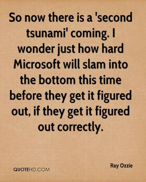 Ray Ozzie  - So now there is a 'second tsunami' coming. I wonder just how hard Microsoft will slam into the bottom this time before they get it figured out, if they get it figured out correctly.