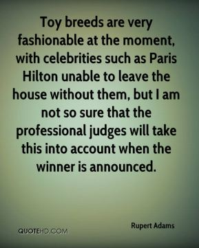 Rupert Adams  - Toy breeds are very fashionable at the moment, with celebrities such as Paris Hilton unable to leave the house without them, but I am not so sure that the professional judges will take this into account when the winner is announced.
