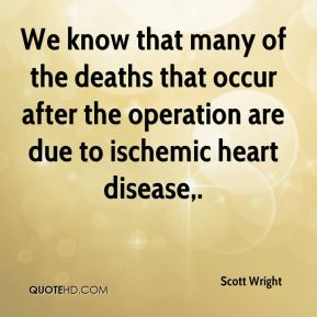 Scott Wright  - We know that many of the deaths that occur after the operation are due to ischemic heart disease.