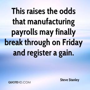 Steve Stanley  - This raises the odds that manufacturing payrolls may finally break through on Friday and register a gain.