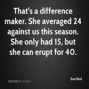 That's a difference maker. She averaged 24 against us this season. She only had 15, but she can erupt for 40.