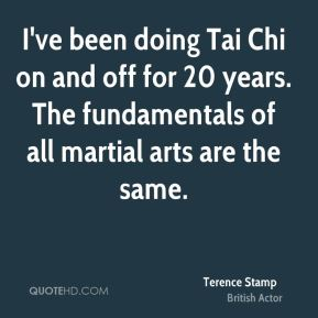 Terence Stamp - I've been doing Tai Chi on and off for 20 years. The fundamentals of all martial arts are the same.