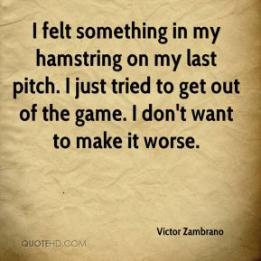 I felt something in my hamstring on my last pitch. I just tried to get out of the game. I don't want to make it worse.