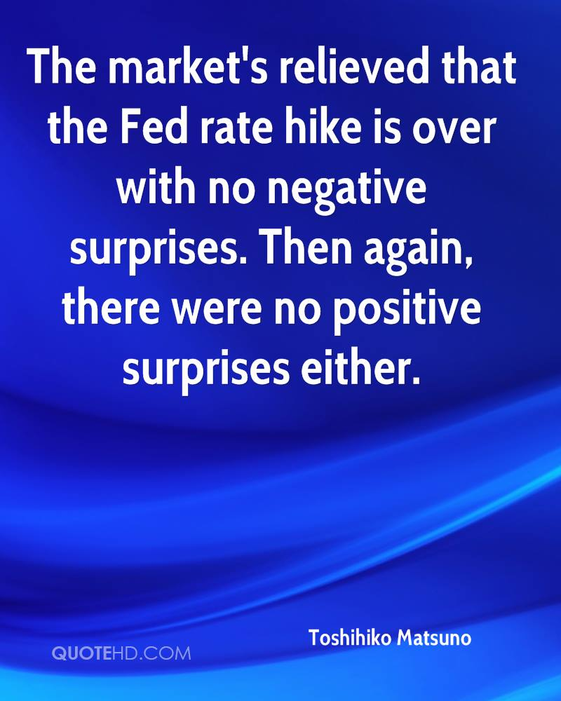The market's relieved that the Fed rate hike is over with no negative surprises. Then again, there were no positive surprises either.