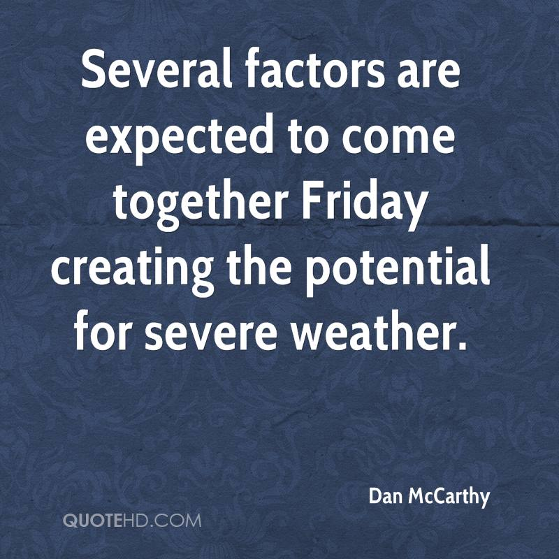 Several factors are expected to come together Friday creating the potential for severe weather.