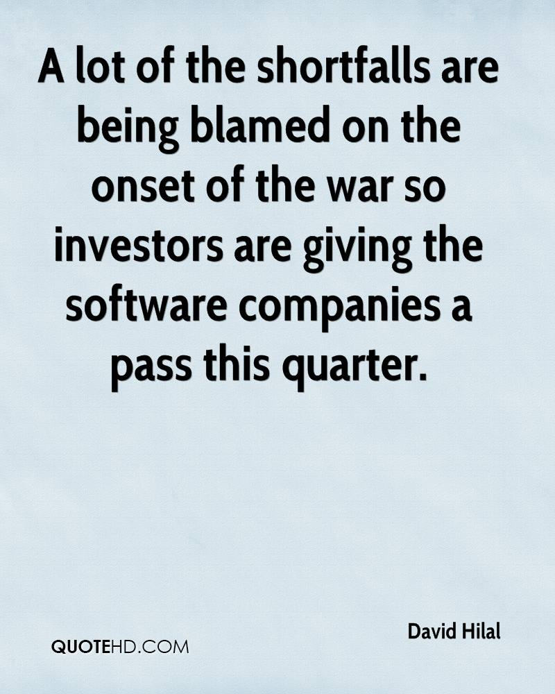 A lot of the shortfalls are being blamed on the onset of the war so investors are giving the software companies a pass this quarter.