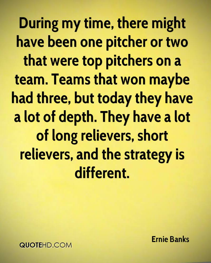 During my time, there might have been one pitcher or two that were top pitchers on a team. Teams that won maybe had three, but today they have a lot of depth. They have a lot of long relievers, short relievers, and the strategy is different.