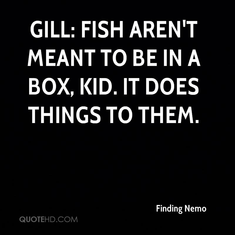 Gill: Fish aren't meant to be in a box, kid. It does things to them.