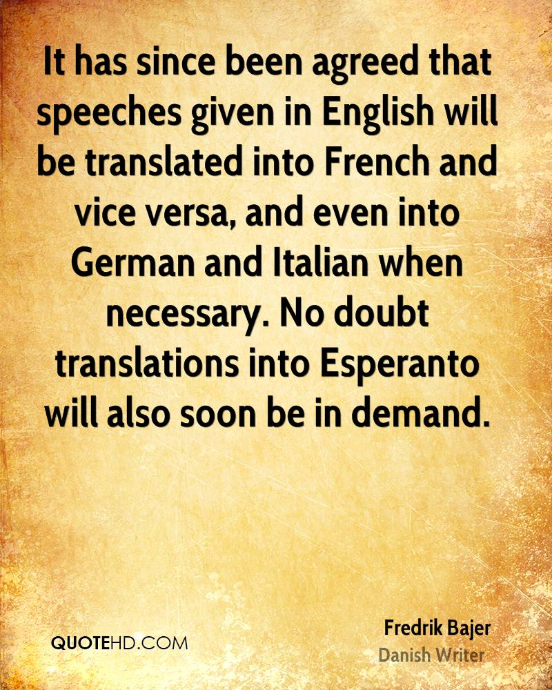 Translations Into Italian: Fredrik Bajer Quotes