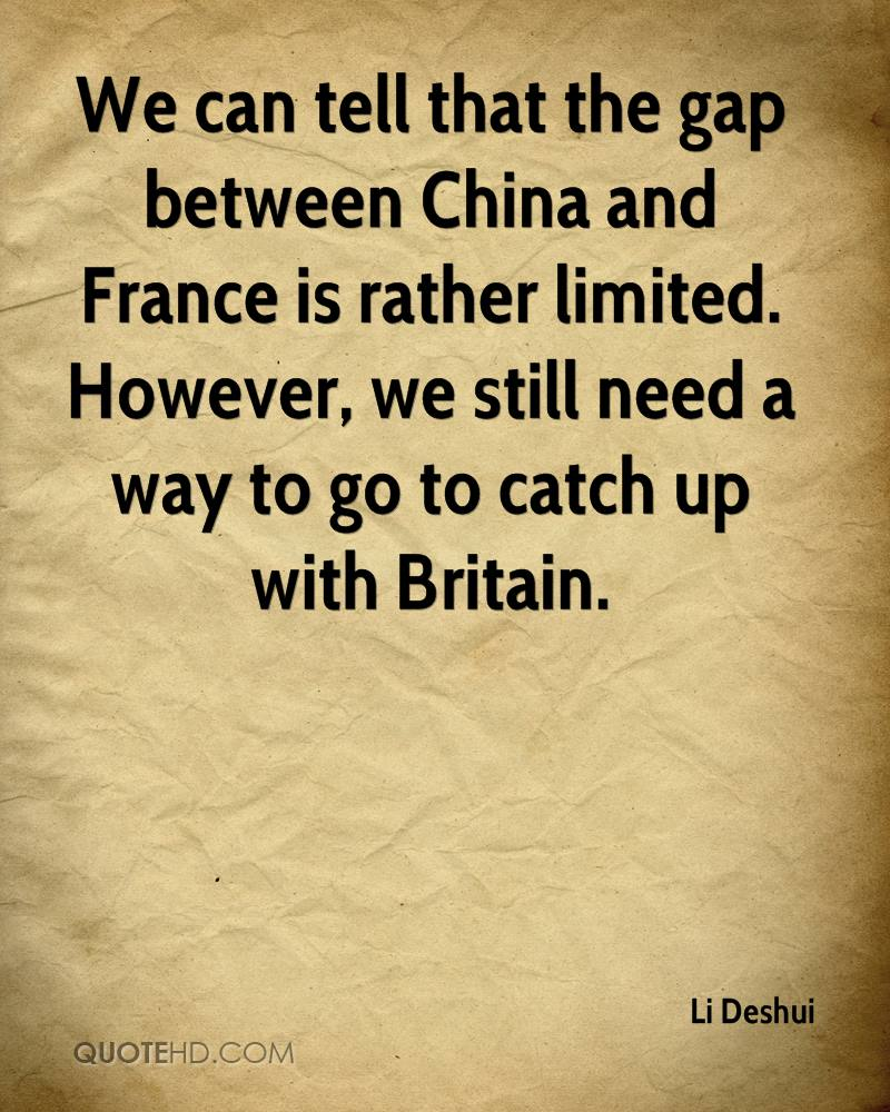 We can tell that the gap between China and France is rather limited. However, we still need a way to go to catch up with Britain.