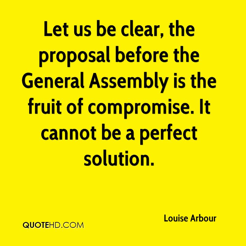 Let us be clear, the proposal before the General Assembly is the fruit of compromise. It cannot be a perfect solution.