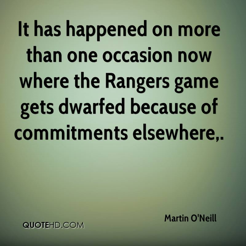 It has happened on more than one occasion now where the Rangers game gets dwarfed because of commitments elsewhere.